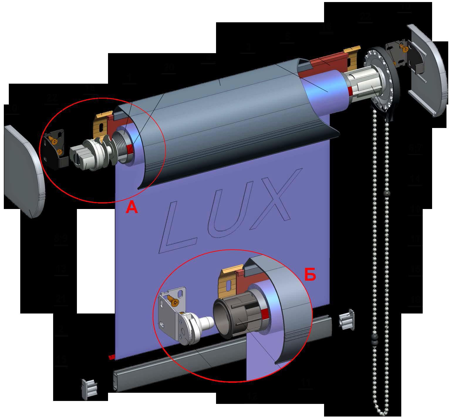 Рулонная штора Lux38 Plus (коробная система )